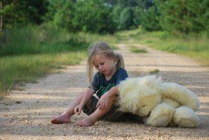girl, teddy bear, toy